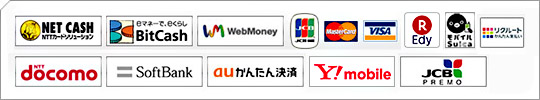 「NET CASH」「BitCash」「WebMoney」「JCB」「Master Card」「VISA」「Edy」「(モバイル)Suica」「ドコモケータイ払い」